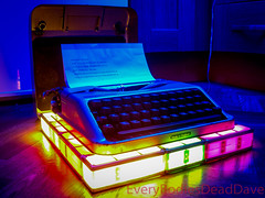 Empire Aristocrat Typewriter (EveryBodiesDeadDave) Tags: colour color lights leds empirearistocrattypewriter empire aristocrat typewriter madeinengland casio exilim exz750 everybodiesdeaddave lightcreation made patented manufactured britishtypewritersltd westbromwich england old steel keys ink ribbon paper print cool retro a4 green blue red orange yellow pink purple