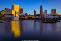 Downtown Cleveland (jomak14) Tags: canoneos1ds cleveland daytimelongexposure fullframe kenkond8filter lakeerie lakefront ohio tokinaaf1935mmf3545 reflection rockandrollhalloffame greatlakessciencecenter architecture