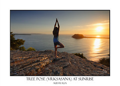 Yoga by the Sea at sunrise - Tree Pose Vrksasana (sugarbellaleah) Tags: pose yoga wellness wellbeing sunrise treepose vrksasana asana people woman female morning rock ocean scenic view peace tranquility quiet serene stretch summer spring outdoors nature environment health solitude balance steadiness calming coordination westhead australia barrenjoeylighthouse pittwater sun sunlight golden sunrays