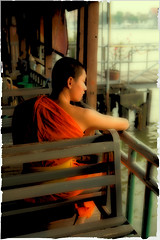 Thai monk in Bangkok (BDphoto1) Tags: asia thailand bangkok monk buddhist buddhism religious religion vertical color colorful robe sittingwatching serene peaceful one orange