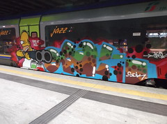 fire at will (en-ri) Tags: verde train writing torino graffiti crew homer azzurro simpson marrone sdk opak