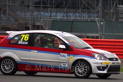 Carlito Miracco in the BRSCC Fiesta Junior Championship at Silverstone, August 2015