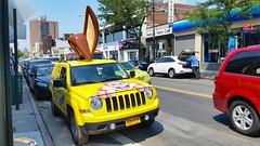 Nesquik Bunny Car On Austin Steet (Joe Shlabotnik) Tags: cameraphone bunny car bunnyears foresthills nesquik faved 2015 galaxys5 august2015