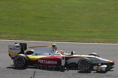 Rio Haryanto in the GP2 Feature Race at the 2015 British Grand Prix at Silverstone