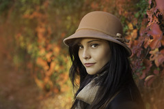 Autumn portrait of a beautiful young woman (PrgomeljaDusanAna) Tags: life park wood light portrait people orange sunlight holiday plant love nature girl smile make look hat leaves smart smiling fashion silhouette yellow female standing forest magazine hair season outdoors happy person gold star leaf nice healthy model women perfect girlfriend pretty play looking post natural skin head gorgeous lounge performance makeup lifestyle style happiness scene lips professional glossy health cap actress leisure lipstick elegant miss hairstyle graceful luxury fiery styling lifestyles fashionable spainish