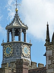 Closeup of Clock on Bourchier's Tower at Knole House in Sevenoaks, Kent, England (mharrsch) Tags: park england house tower castle clock architecture kent estate realestate royal palace tudor clocktower mansion nationaltrust sackville sevenoaks knolehouse countryestate mharrsch