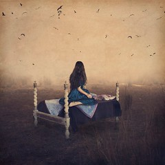 alone in a town of dreams (brookeshaden) Tags: india france surreal conceptual selfportraiture whimsical fineartphotography darkart brookeshaden