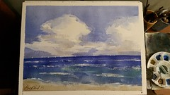 Windy Waters (MFG512) Tags: ocean blue sea summer sky lake seascape green art beach water clouds watercolor painting skyscape landscape boats sand paint waves sailing wind horizon wave watercolour sailboats wavy cloudscape