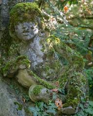Moss-grown cherub (schauplatz) Tags: deutschland stuttgart waldfriedhof friedhof cemetery engel angel moos moss