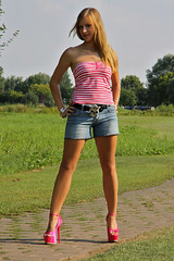 Missy 26 (The Booted Cat) Tags: sexy blonde cute teen girl demin jeans hotpants legs highheels heels sandals