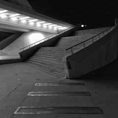 stairs to the opera (dan.boss) Tags: square monochrome bw ciudaddelasartesylasciencias night iphonese calatrava stairs