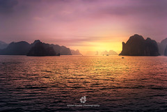 Ha Long Bay - Gulf of Tonkin (fesign) Tags: asia bayofwater beautyinnature cloudsky colour dawn dusk halongbay horizontal image indochina nature nauticalvessel nopeople northvietnam onthemove outdoors pacificocean photography rock rockformation scenics sky sunrise sunset transportation traveldestinations vietnam