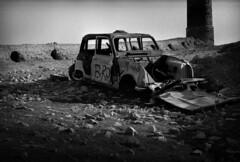 bronx (hervv30140) Tags: france zone épave carcasse ruine usine désaffectée abandonnée bronx tag graphe graffitis cheminée capot voiture véhicule noir blanc monochrome 4l