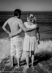 Seul au monde (Anglique Amoureux) Tags: beach bw bn plage marseille sea