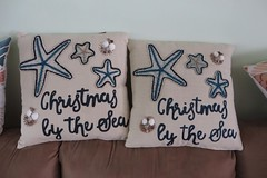 Betty went to Pier One (BarryFackler) Tags: christmas holiday celebration pillows starfish shells sofa livingroom 2016 barryfackler barronfackler pierone sea ocean decorative homeaccent whimsical nautical oceantheme christmasbythesea coastal script decor house homedecor home