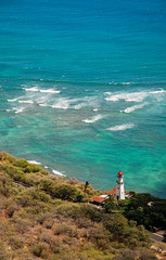 The Lighthouse (JN) Tags: nikon d70 1870mm hawaii oahu diamond head diamondhead ocean sea blue lighthouse light house waves surf