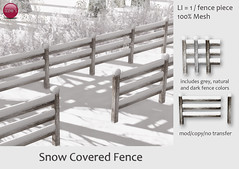 Snow Covered Fence (Izzie Button (Izzie's)) Tags: fence snow winter sl snowcovered izzies