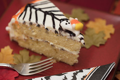 Halloween Cake With Web Design (Transient Eternal) Tags: events food halloween october autumn bake black cake candies candy cook cream creamy dessert dough fall fork frosting gettogether ghosts holiday icing layers leaves napkin orange party piece plate round serve serving slice snack sugar sweet table trickortreat vanilla web wedge
