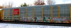 impeach - much - porrt - revel (timetomakethepasta) Tags: impeach much hm port revel freight train graffiti art autorack cpr cp canadian pacific railroad
