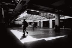 Walking Past (OzGFK) Tags: asia singapore brasbasah film analog nikon nikkor shadow contrast blackandwhite monochrome street streetphotography hdb