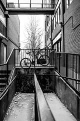 B & W Bike (O'Quinn Photo) Tags: communityhousing crombiepark bw bike stlawrencemarket frontstreet jarvisst toronto downtown autumn oquinn ontario chained locked alley fence brick buildings