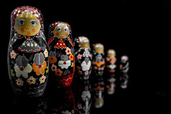 Matryoshka Dolls in Red and Yellow (Lo8i) Tags: 52weeksofpix2016 matryoshka doll flickrlounge red selectivecolor yellow odc allinarow redandyellow