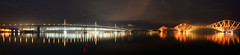 The Forth Bridges (andrewmckie) Tags: forthtrainbridge forthrailbridge forthbridge bridges architecture night lights reflections maritime outdoor