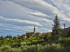 in the ardeche: banne (dick_pountain) Tags: france tree church pine clouds ardeche banne paololivornosfriends