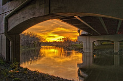 From Under The Bridge (lseankey) Tags: bridge autumn trees sunset reflection clouds scenery cityscape north redriver dakota fargo nikond5000 nikon28300mm nd2015contest