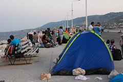 Refugees have set up their camps at the shore