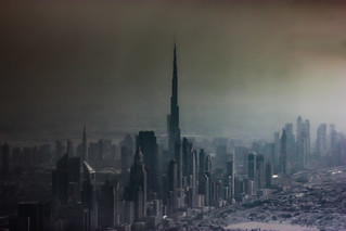 A dusty, foggy day in Dubai