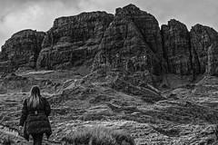 Imposing - Skye  April 2015 (GOR44Photographic@Gmail.com) Tags: bw mountain skye canon person mono scotland highlands rocks oldmanofstorr storr 60d gor44 70300mmf456diusdvc