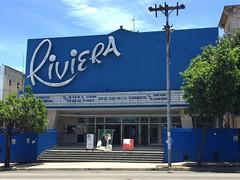 Cine Riviera (jericl cat) Tags: blue cinema building sign architecture modern vintage movie design theater neon riviera theatre havana cuba cine restored roadside googie bienal midcentury vedado 2015 midcentuiry