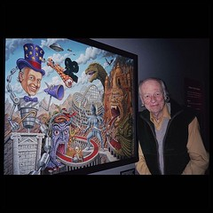 """Ray Harryhausen in front of a print of my painting """"Harryhausen Land"""" at the Seattle Sci Fi museum about 9 years ago, just got this photo from his friend Arnold Kunert, thank you Arnold!!!! And a big thank you to Anthony Angelora for helping to make this"""