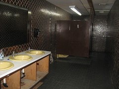 Pimpin', Funky, Real-Life, Preserved, Totally Awesome, Freaky 70's Bathroom!!! (Laura's Favorites) Tags: road trip brown public pool birds yellow yard vintage dead hall store toilet tiles stores department pimpin stalls unchanged chehalis bygone
