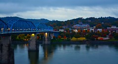 Fall in Coolidge Park (2) - 2015 (Roland 22) Tags: blue trees red sky orange white mist reflection green chattanooga water rain yellow fog night clouds lights evening twilight flickr glow tn lamps walnutstreetbridge tennesseeriver coolidgepark