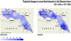 Projected changes in mean flood intensity in the Dniester basin (Zoi Environment Network) Tags: water ecology river flood map lviv ukraine projection romania future environment strength geography forecast prediction chisinau moldova intensity percentage hydrology tiraspol chernivtsi severity ivanofrankivsk riverbasin dniester ivanovofrankivsk