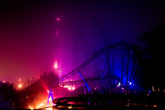 Foggy Rollercoaster (Sandra Lechner) Tags: park light sea halloween fog amusement long exposure baltic illusion horror theme rollercoaster ostsee hansa hansapark