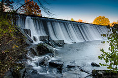 dammed (paul noble photography) Tags: longexposure autumn sunset water dam maine newengland foliage autumncolor fallinmaine paulnoble newenglandfoliage 1224f4 fallinnewengland presumpscotriver d7000 nikond7000 goldenhourlandscape paulnobleimages paulnoblephotography gamboroad