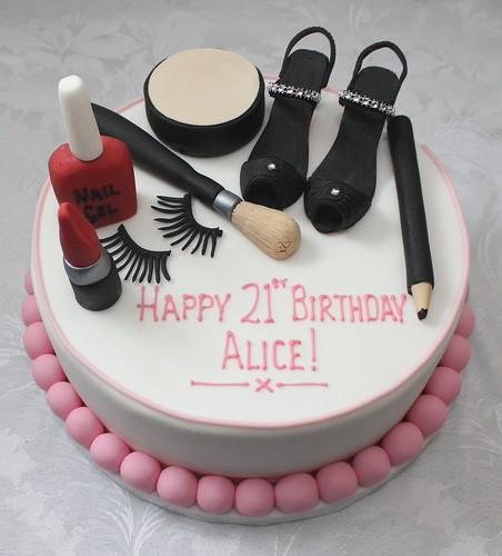 Makeup And High Heeled Shoes Birthday Cake