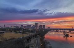 Hot Streak (Joey Wharton) Tags: city sky water clouds sunrise river landscape outdoors virginia cityscape richmond va rva