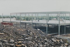 THE NEW KINGSTON WALMART SITE IN 1998 (richie 59) Tags: ulstercountyny ulstercounty newyorkstate newyork townofulsterny townofulster unitedstates ulsterny ulster richie59 america outside summer constructionarea buildingsite constructionsite construction oldphotograph olddays oldphoto 1998 photoscan july121998 july1998 35mmfilm 35mm filmcamera filmphotography film newbuilding 1990s hudsonvalley midhudsonvalley midhudson nystate nys ny usa us walmart newstore building steelwork steel steelframe dirt rocks stones hill retail trees newstores