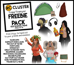 -RC- Cluster Copy/Transfer Freebie Pack! (-RC- Cluster) Tags: rccluster rc reddcolumbia free freebies sl freesl oldschool newbies wizard doll toys toy saltshaker salt food recordplayer chalkboards school headphones animation animated juice sunnyd tents tent outdoors camping fish water net goldfish elephant trunk ears nose tusks handcuffs police roleplay rp