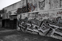IMG_1467 (AustinBoyes) Tags: abandoned building desolate decaying dog track racetrack race dogs black white old desert phoenix graffiti destroyed landscape