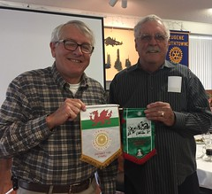 Ted presented two flags to our club that he received during his recent Rotary Exchange to Wales.