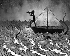 Lost at sea (Shmoonify) Tags: inktober inktober2016 lost sea ocean octopus kraken scary horror storybook illustration boat