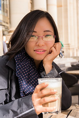 Beautiful Asian Girl Portrait Cafe Drinking Coffee Customer Restaurant Latte Macchiato Glass Outside (HunterBliss) Tags: asian beautiful beverage black bright cafe caffeine cheek chin chinese coffee cold columns customer daytime diet down drink drinking eating enjoying eyes face fingers girl glass glasses gripping hands holding jacket latte lips looking macchiato model mouth nose outdoors outside portrait restaurant service small smile sunlight sunny table warm weather
