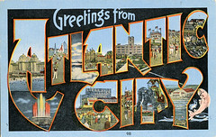 Greetings from Atlantic City, New Jersey - Large Letter Postcard (Shook Photos) Tags: postcard postcards linen linenpostcard linenpostcards largeletter largeletterpostcard largeletterpostcards bigletter bigletterpostcard bigletterpostcards atlanticcitynewjersey atlanticcity newjersey fish fountain casino