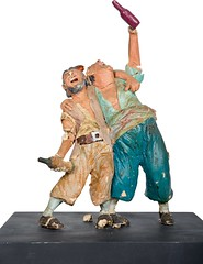 1960s Pirates of the Caribbean maquette - Two Drunk Pirates - front (Tom Simpson) Tags: piratesofthecaribbean disney disneyland 1960s vintage maquette sculpture pirate pirates imagineering vintagedisney vintagedisneyland