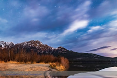 Big Dipper over Pyramid Mountain (Moonlit Clouds) (Amazing Sky Photography) Tags: alberta autumn bigdipper circumpolar constellation jaspernationalpark moonlight pyramidlake pyramidmountain clouds